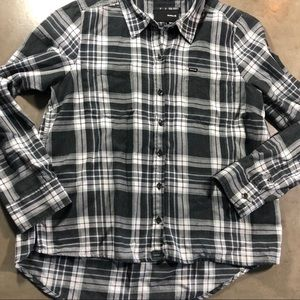 Hurley Black And White Plaid Flannel Shirt